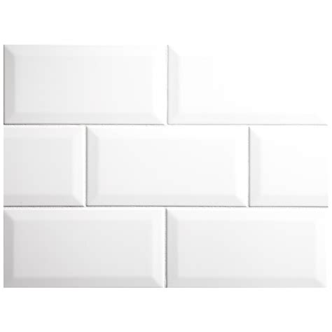 nori ceramic collection tile white gloss 4 quot x 8 quot beveled