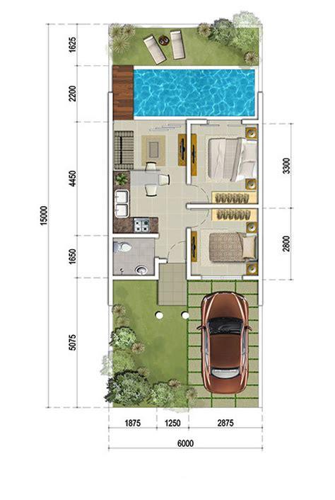 denah rumah minimalis ukuran  meter  kolam