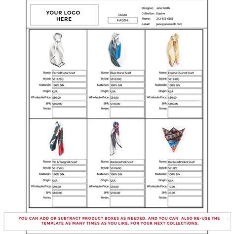 wholesale line sheet template startup fashion