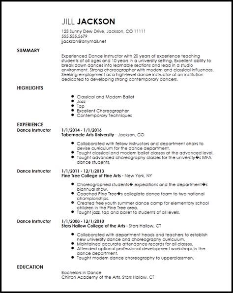 Dancers Resume by Free Professional Dancer Resume Template Resumenow