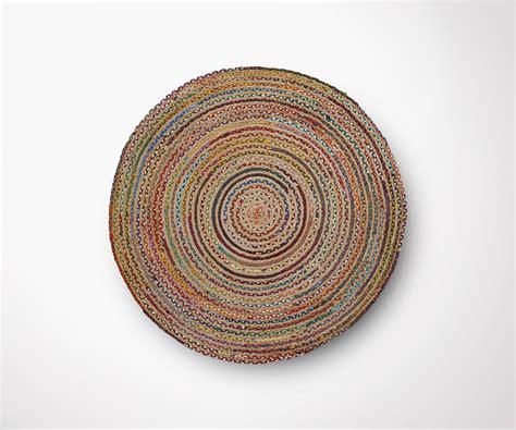 tapis rond jute multicolor cm diametre style moderne