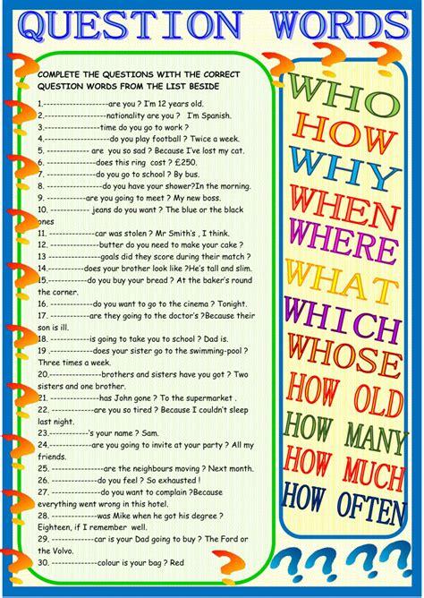printables  question words worksheet esl geotwitter