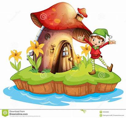 Outside Dwarf Mushroom Illustration Clipart Background Living