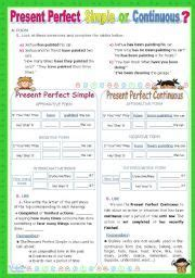 english worksheet present perfect simple  continuous
