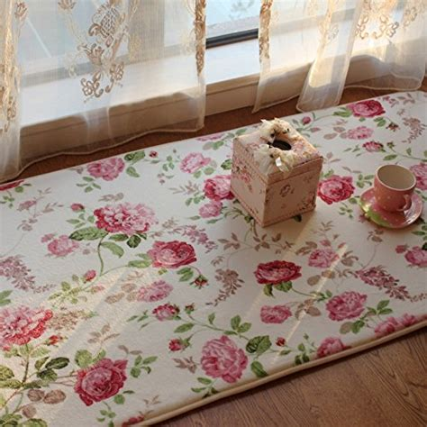 FADFAY Home Textile,Romantic American Country Style Floral Room Floor Mats,Sweet Rose Print