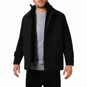 Mens Double Lined Wool Winter Smart Casual Trench Pea Coat ...