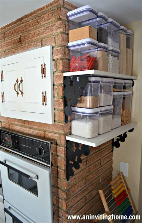 Kitchen Hacks For Small Kitchens by No Pantry But Wall Mount Shelves Allow For Food Storage