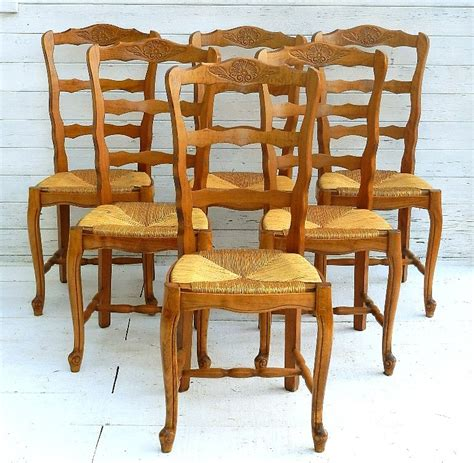 Ladder Back Dining Chairs With Rush Seats by 6 French Provincial Vintage Cherry Rush Seat Dining Chairs