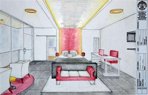 Drawing A Bedroom In Perspective by 2nd Point Of View Room In Drawing Bedroom Interior