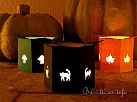Kuerbis Dekorationsideenhalloween Kerzenleuchter Mit Papier by Herbstbasteln Mit Papier Herbstlicher Teelichthalter