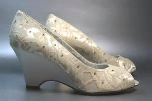 wedding shoe wedges ivory lace wedge wedding shoes with crystals onewed