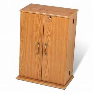 Locking CD DVD Media Storage Cabinet in Oak/Black - OVS-0136