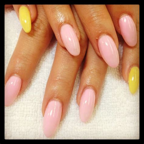 pink  yellow almond nails megs nail designs