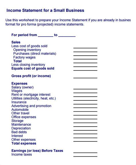 image result  income statement template  income