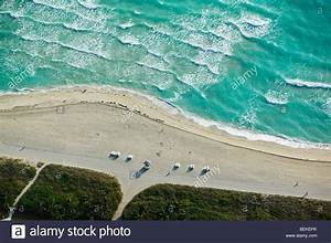 aerial view above South beach waves Miami Flordia Atlantic ...