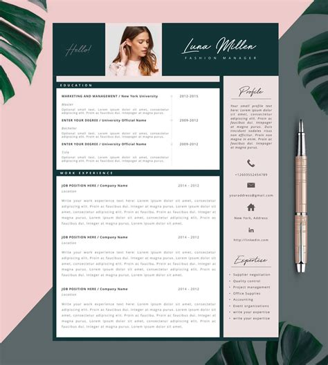 Mode Cv Word by Fashion Resume Cv Template Resume Template Creative