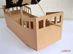 MollyMooCrafts DIY Cardboard Pirate Ship - craft tutorial