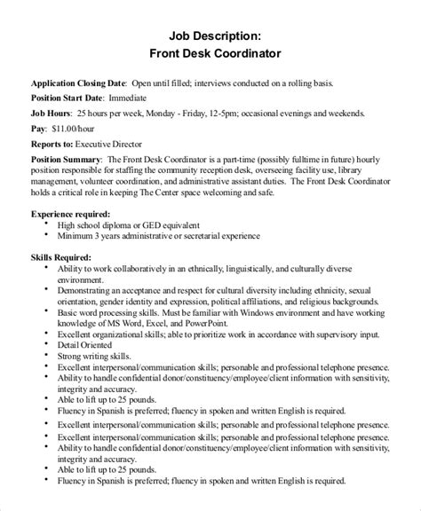 front desk coordinator resume sle front desk description 10 exles in pdf word