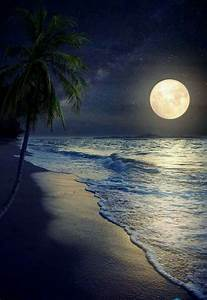 full moon, wish I were on the ocean right now!♡♡♡ | Beach ...
