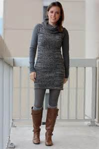 Sweater Dress with Tights and Boots