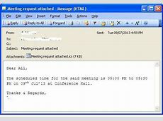 How to Create a Meeting Request as an attached calendar