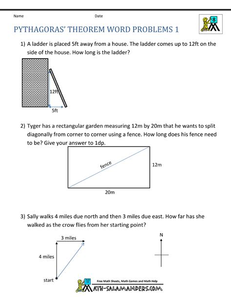 pythagoras theorem questions word problems 1 math 1