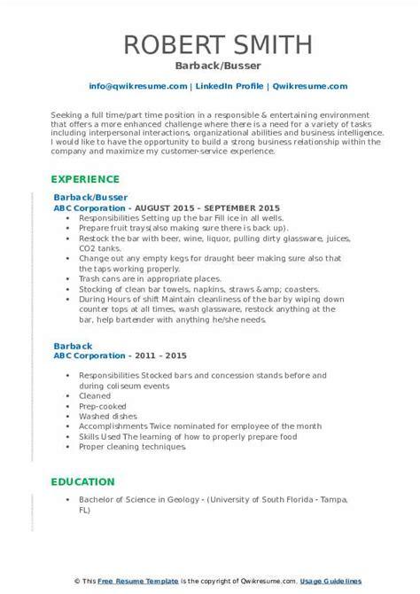 Barback Resume by Barback Resume Sles Qwikresume