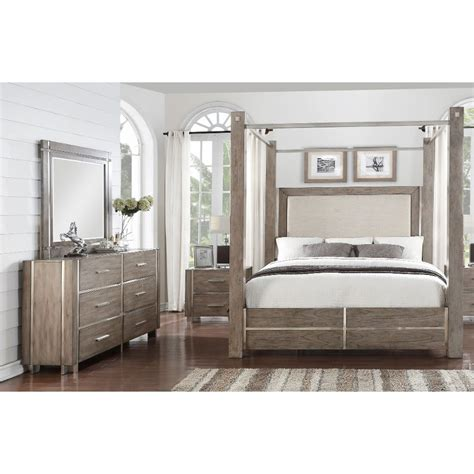 gray silver contemporary  piece king canopy bedroom set