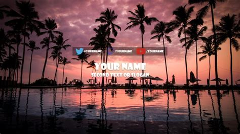 youtube banner customised palm tree pink sunset design etsy