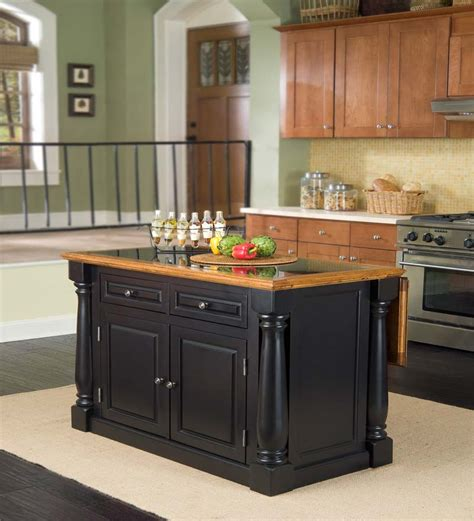 Country Kitchen Backsplash Ideas - black kitchen island design kitchentoday