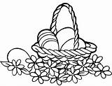 Easter Basket Coloring Pages Printable Simple Tags Crafts sketch template