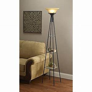 Mcleland design torchiere floor lamp with lighted shelves for Torchiere floor lamp with shelves