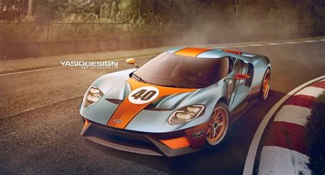 ford gt rendered  martini gulf livery carscoops