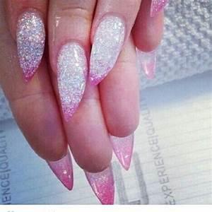 Light pink glitter stiletto gel nails from instagram ...