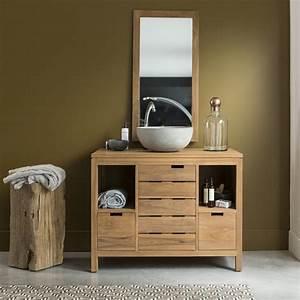 meuble salle de bain en teck brut serena solo With meuble de sdb en teck
