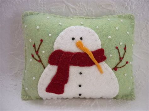 felt snowman pillow primitive wool decoration penny rug