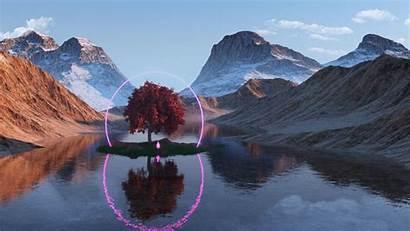 Lake Tree Mountains Neon Reflection Ring 1080p