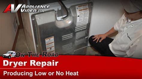 whirlpool dryer repair producing    heat