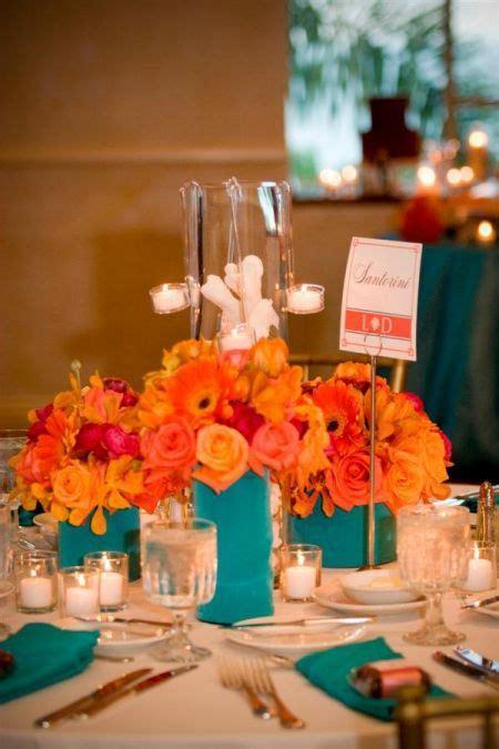 Orange And Teal Reception Wedding Flowers Wedding Decor
