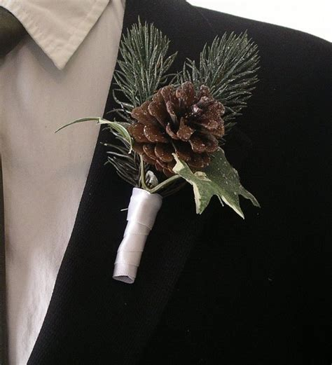 winter wedding boutineers  wintergreen pine