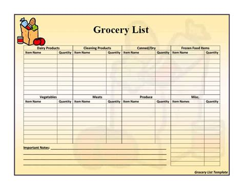 40+ Printable Grocery List Templates (shopping List
