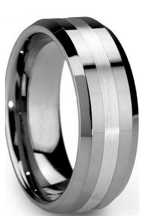 stylish black and silver mens wedding band matvuk com