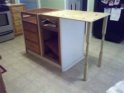 how to install a kitchen island with cabinets base cabinets repurposed to kitchen island hometalk 9755