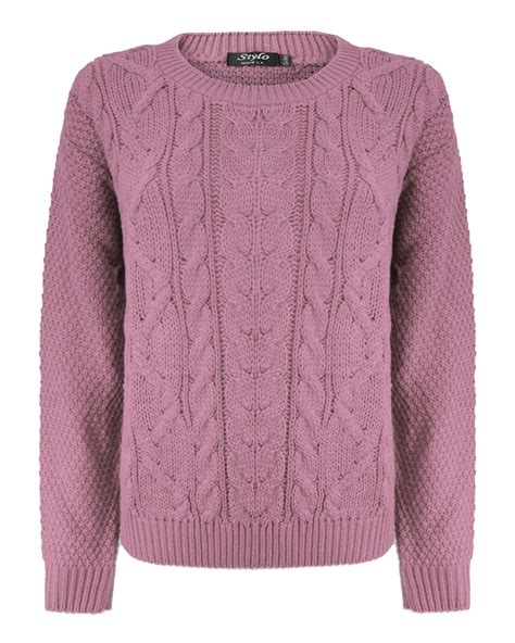 chunky womens sweaters knitted crew neck sleeve cable knit