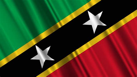 Flying Flag Of Saint Kitts And Nevis