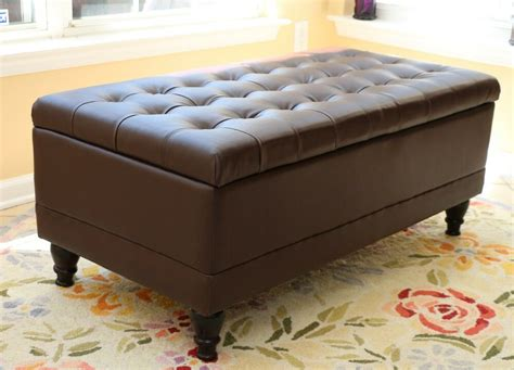 Leather Top Ottoman by Home Tufted Leather Storage Coffee Espresso Ottoman