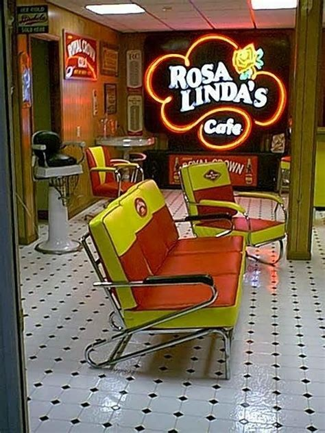barber shop chair rc cola waiting room seating neon