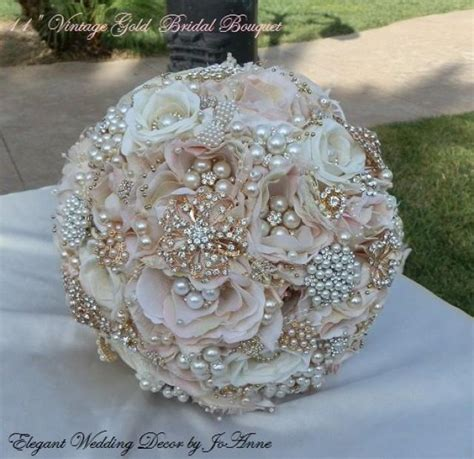 Vintage Gold Bridal Bouquet Beautiful Blush Pink And