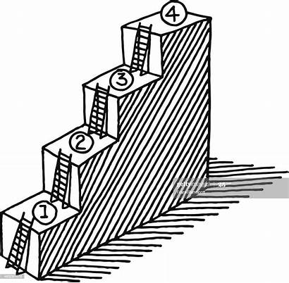 Ladder Steps Drawing Progress Concept Stairs Vector