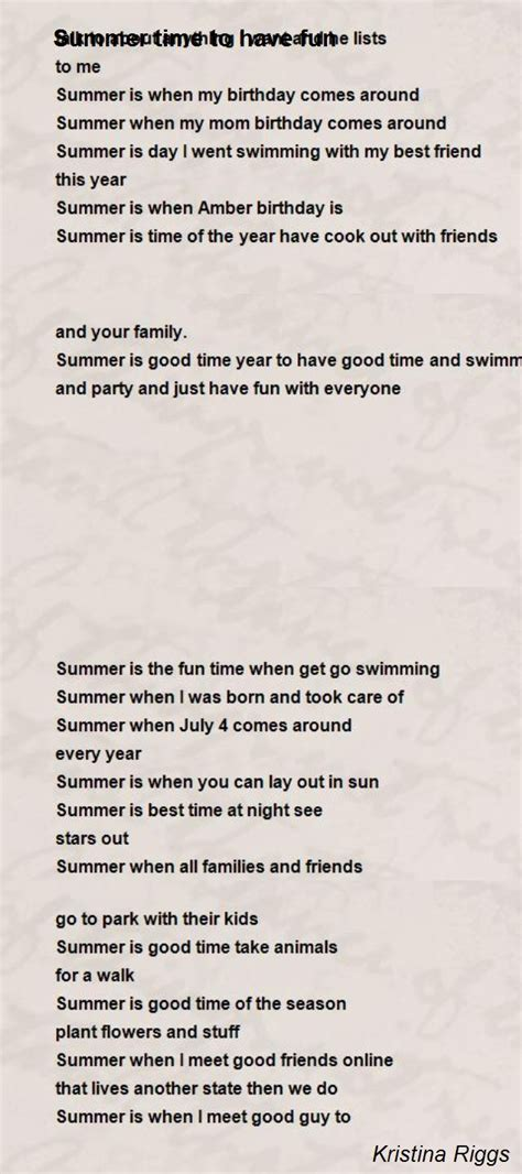 summer time   fun poem  kristina riggs poem hunter